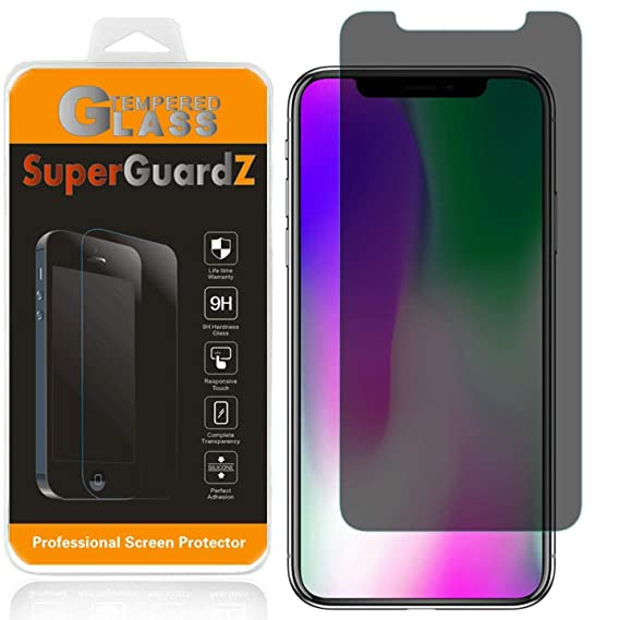 timeless design 57ef6 4f12f [2-Pack] for iPhone XS Max Tempered Glass Screen Protector [Privacy  Anti-Spy], SuperGuardZ, 9H Anti-Scratch, 2.5D Round Edge, Anti-Bubble  [Lifetime ...