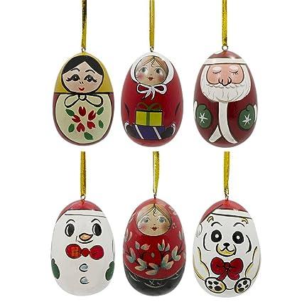 Amazon.com: Set of 6 Santa, Snowman, Teddy Bear, Matryoshka Russian ...