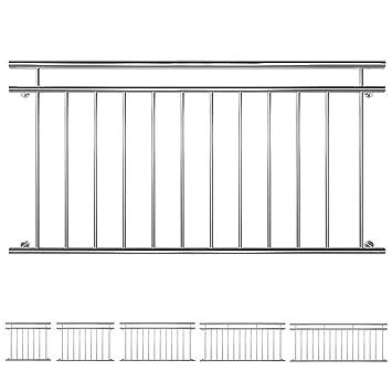 v2aox edelstahl franzosischer balkon gelander balkongelander 90 x 100 225 cm breite 156
