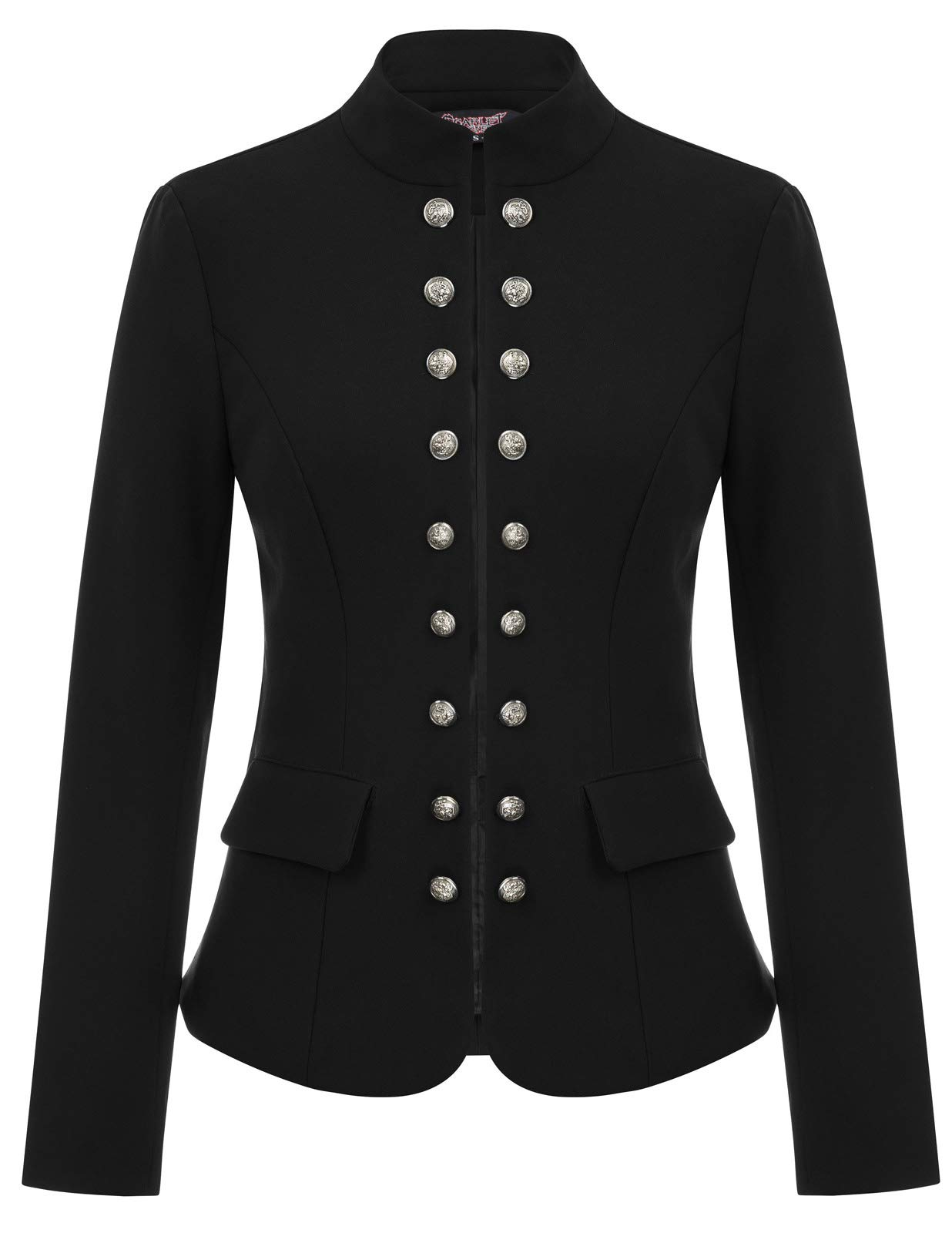 SCARLET DARKNESS Womens Black Gothic Steampunk Casual Jacket Military Coat SL35-1 M Black
