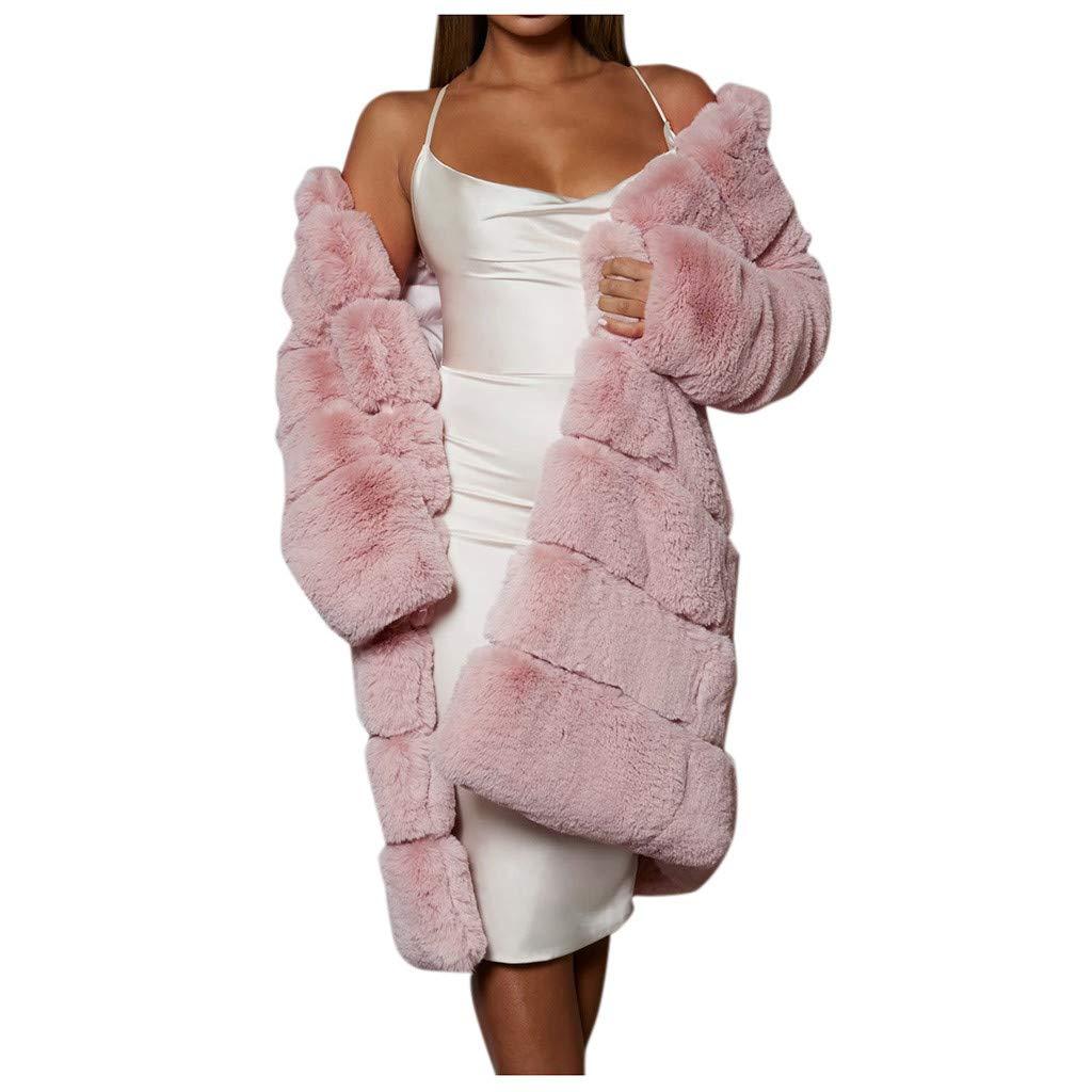 Midress Women's Plus Size Long Faux Coat Warm Furry Fleece Jackets Long Sleeve Cardigan Outerwear Casual Party Soft Coats by Midress