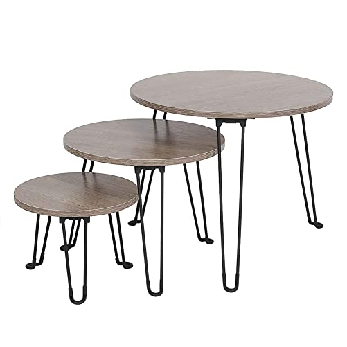 Cocoarm Foldable Nesting Coffee Tables Modern, 3 Sets Round End Table Wood Nightstand for Living Room Balcony Home and Office Stackable Design for Small Space