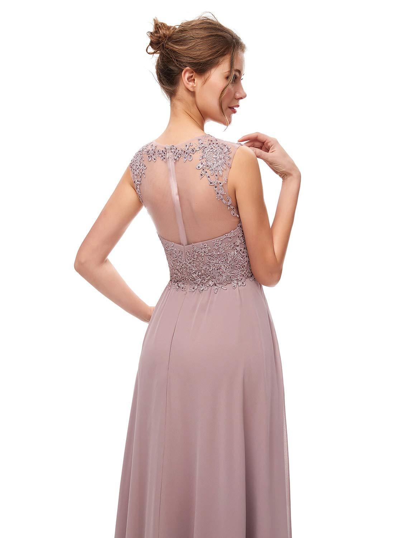 Faironline Womens Sheer Appliques Bridesmaid Dress Long Wedding Ball Gowns