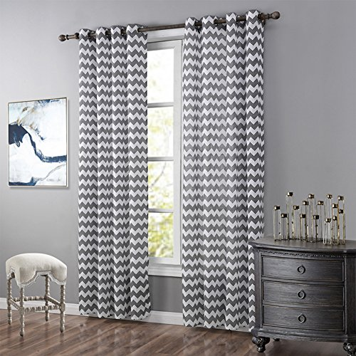 JackLook Intersect Casual Textured Grommet Curtain 2 Panels Wave Print (each panel measures 52″W63″L)