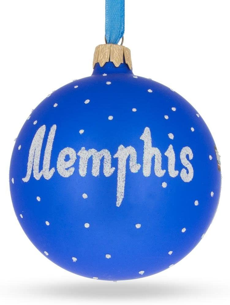 Tennessee Glass Ball Christmas Ornament BestPysanky Memphis at Night