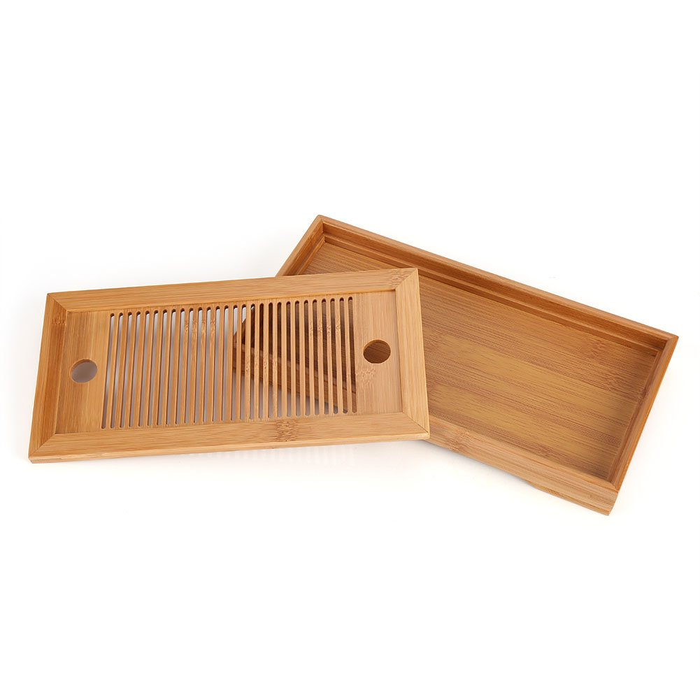 Tasteful Bamboo Japanese/Chinese Gongfu Tea Table, Serving Tray Box Reservoir & Drainage Type for Teahouse Home Office Fdit