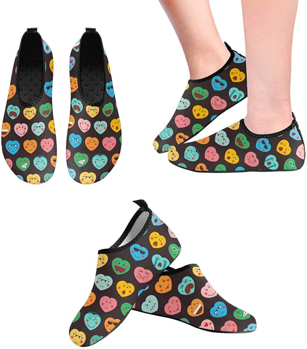 INTERESTPRINT Mens Quick Dry Barefoot Aqua Shoes Cute Emoticon Hearts Barefoot Water Sports Shoes Water Socks
