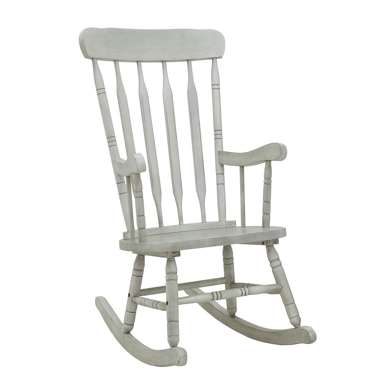 Grey vintage style rubberwood rocking chair comfortable armrest backrest glider rocker porch seat indoor outdoor use home living room bedroom deck backyard
