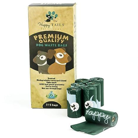 Happy Tails 315 bolsas para caca de perro | 21 rollos | biodegradables | Calidad Premium | Extra grandes, gruesas y fuertes | Bolsas de residuos ...