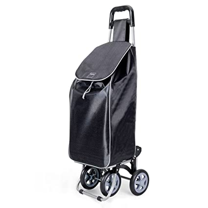 Metaltex Trillium - Carro de Compra con 4 ruedas, Negro, 50 Litros