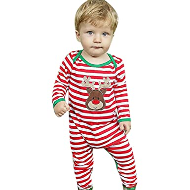 5689c1497831 Domybest Newborn Baby Girls Boys Striped Long Sleeve Romper Jumpsuit  Bodysuit Cartoon Deer Printed Christmas Costume(6-9 M)  Amazon.co.uk   Clothing
