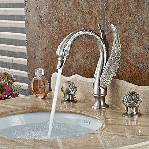 GOWE Luxury Bathroom Swan Style Basin Sink Faucet Widespread Bathroom Mixer Taps Brushed Nickel 3 Holes 0