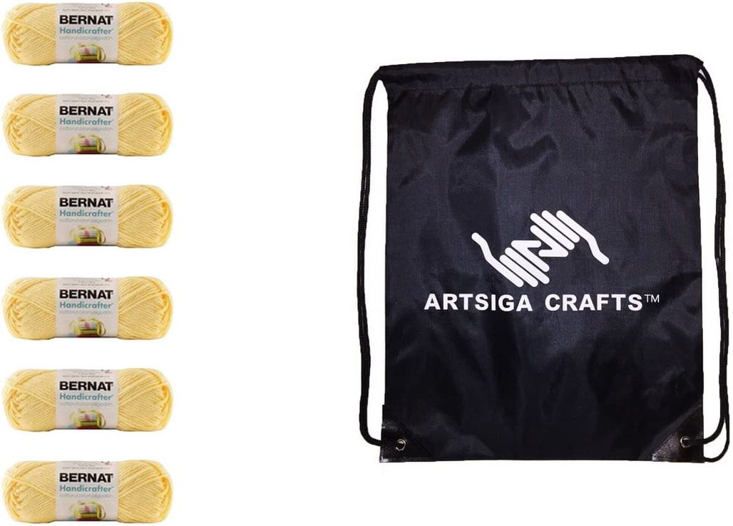 Bernat Knitting Yarn Handicrafter Cotton Solids Pale Yellow 6-Skein (Same Dyelot) 162101-1030 Bundle with 1 Artsiga Crafts Project Bag