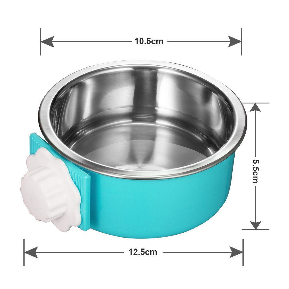 Amazon 5 stars Crate Dog Bowl, Stainless Steel Removable Hanging Food Water Bowl Cage Coop Cup for Dogs, Cats, Small Animals,14 oz by Amazon 5 stars (Image #3)