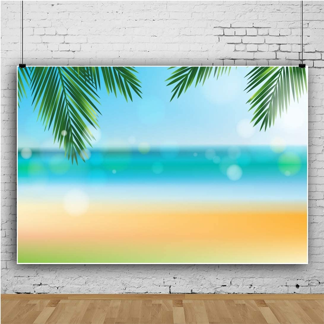 YEELE 10x8ft Sea View Photography Backdrop Tropical Beach with Coco Palm Tree Background Hawaiian Seaside Vacation Kid Adult Portrait Photoshoot Studio Props Summer Holiday Tourism Wedding Wallpaper
