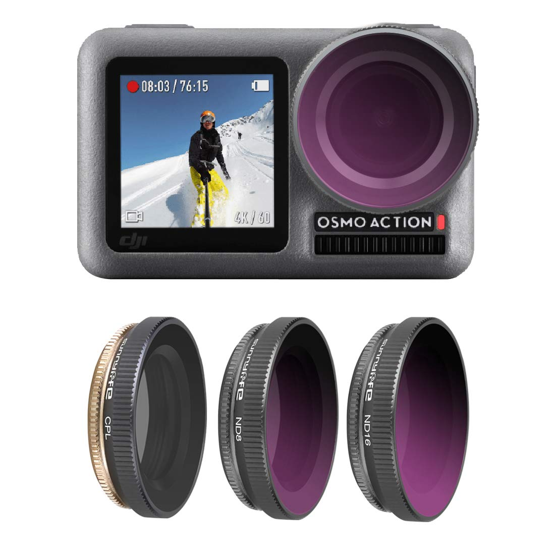 Flycoo2 Lens Filters Set CPL ND Series for DJI Osmo Action Camera (Filter CPL + ND8 + ND16)