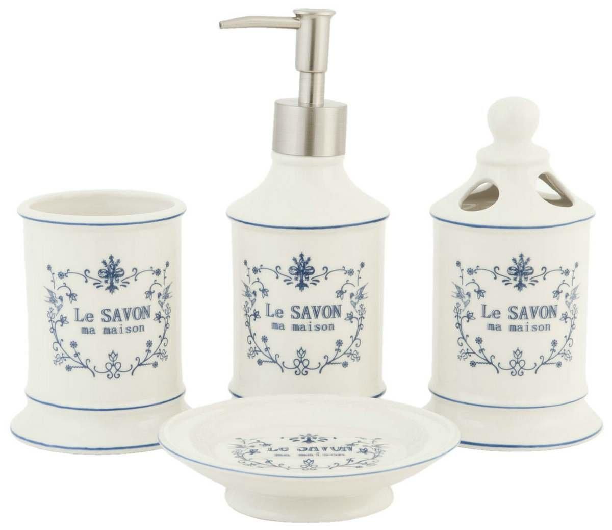 4 Teiliges Badezimmerset LE SAVON Mit Seifenspender Weiß Keramik Clayre U0026  Eef: Amazon.de: Küche U0026 Haushalt