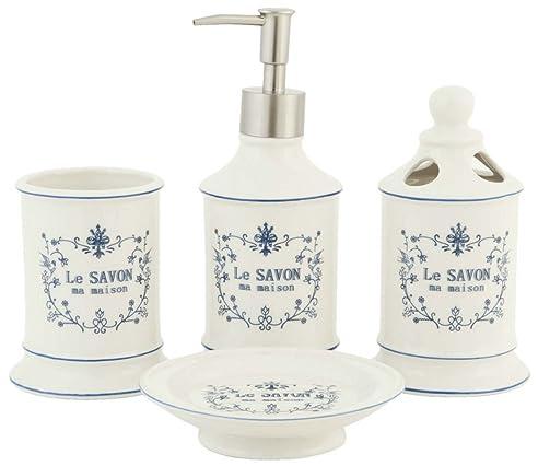 4 Teiliges Badezimmerset LE SAVON Mit Seifenspender Weiß Keramik Clayre U0026  Eef
