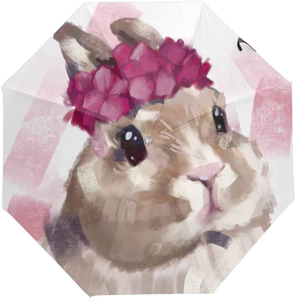 InterestPrint Custom Happy Easter Rabbit Pink Anti Sun UV Foldable Travel Compact Umbrella