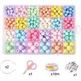 PH PandaHall Hair Hoops Making Set with 24 Colors Acrylic Beads, Lobster Claw Clasps, Crystal Thread, Jump Rings, Earnut, Scissor, Bead Tips, Rabbit Pendant for Hair Hoops Jewelry Making(Mixed#5)