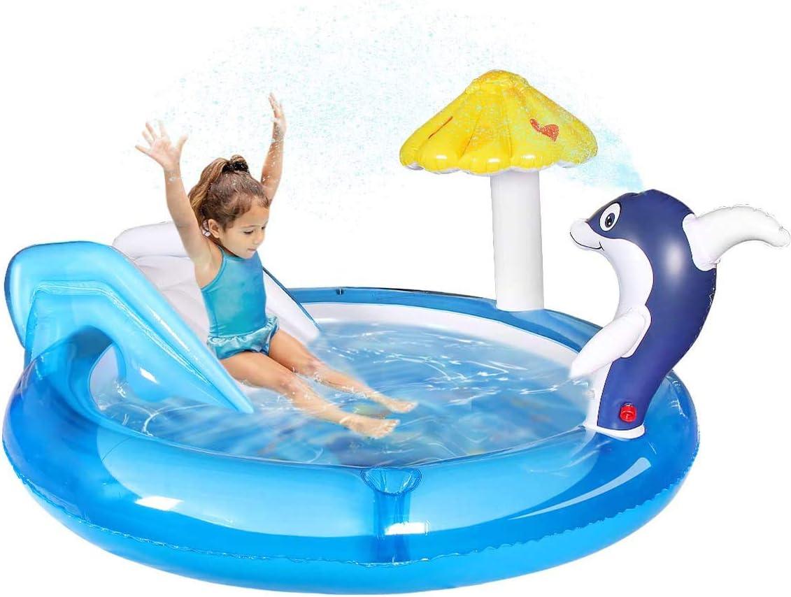 Qdreclod Piscina Hinchable Infantil con Tobogan, Centro de Juegos Hinchable Agua,Castillo Hinchable para Niños, Piscina Infantil con Rociador de Agua Dolphin Spray, 190*190*29cm