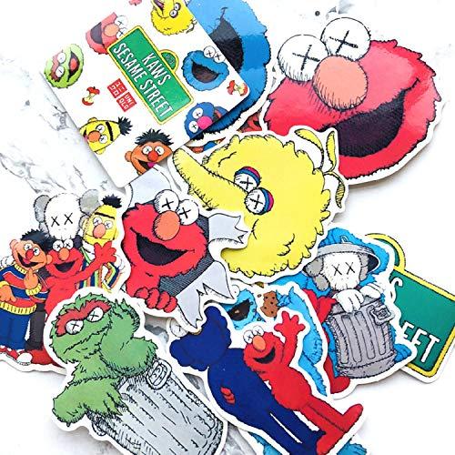 Bike Street Suit (12pcs/lot Cartoon Sesame Street Stickers Creative Suitcase Stickers for Laptop Luggage Bags Bike Phone Cool DIY Car Sticker)