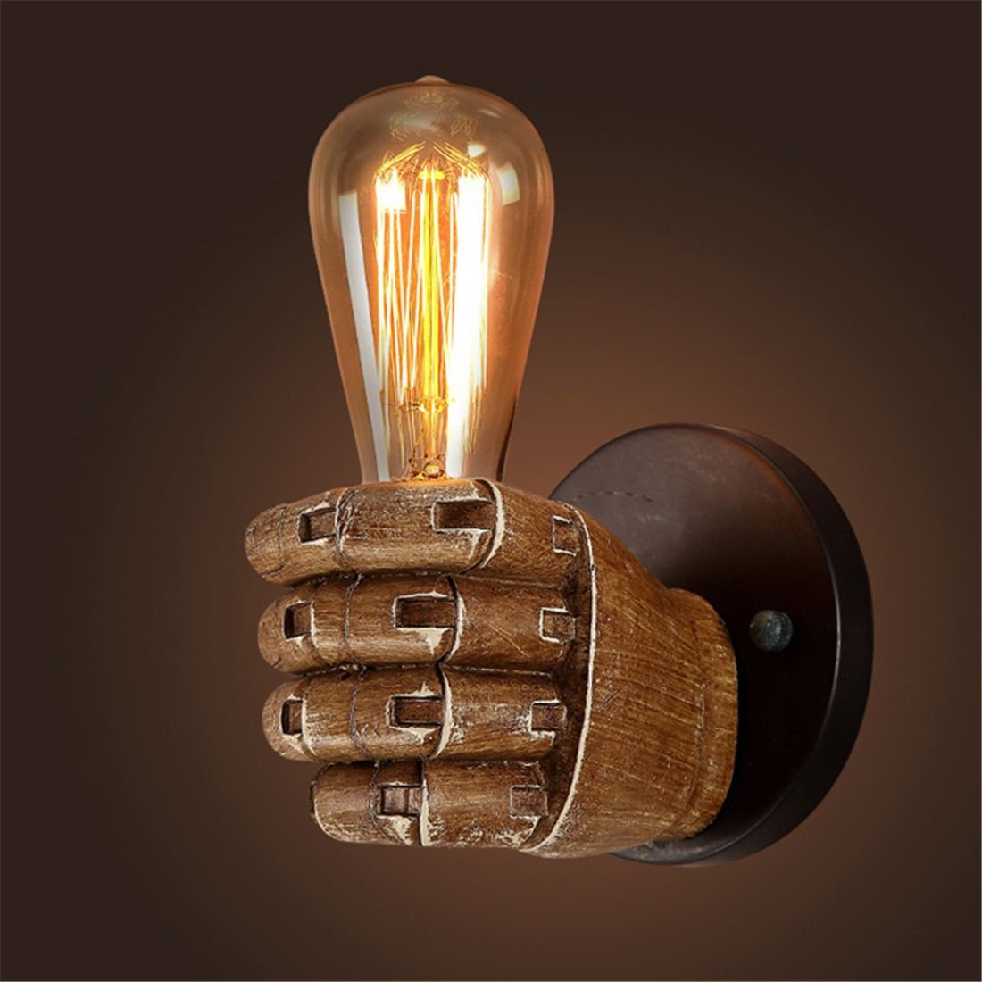 TOOGOO 1 Pair of Left and Right Hand Retro Creative fist Resin Wall lamp Loft Industrial Style lamp Sushi Restaurant Bar Restaurant Cafe Decorative Antique Wall lamp