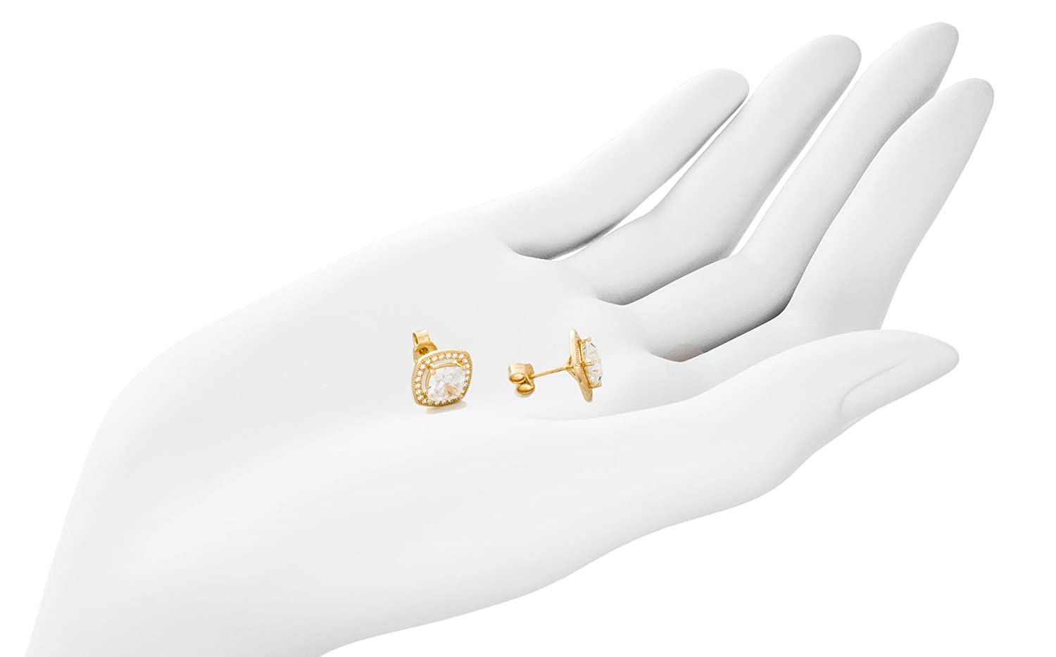 Solid Gold Halo Earrings of CZ in 14K Yellow Gold 1 Large Princess Cut CZ with Halo of 24 Ideal Cut CZ 2.4g