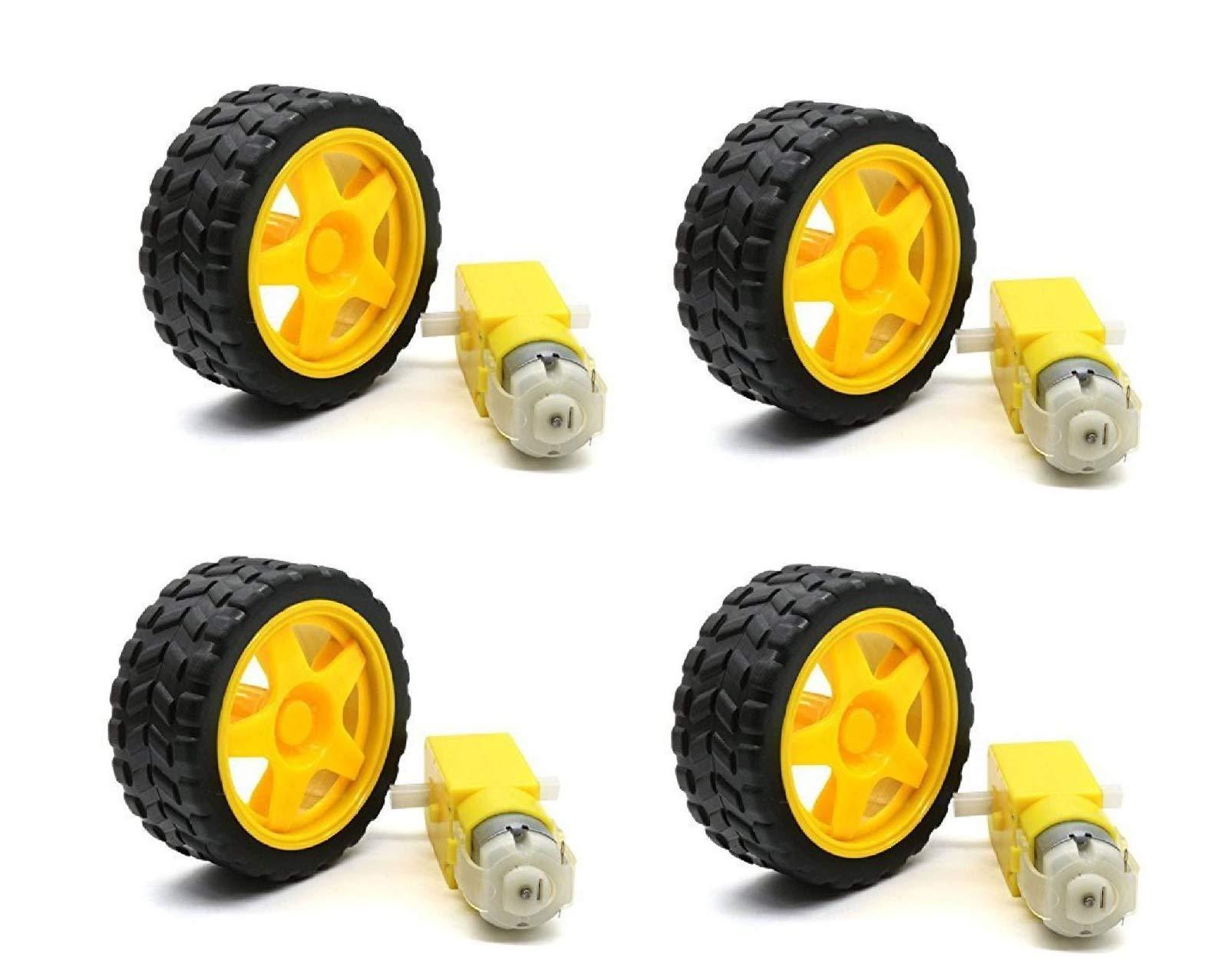 Robotbanao U4-H7PC-OABH Bo1 Duel Shaft Bo Motor 150 Rpm With Wheel, Black and Yellow