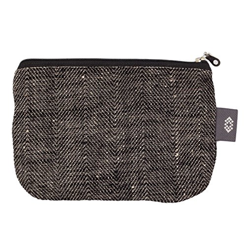 Canvas Makeup Bag 100% Linen - Canvas Travel Bag with Herringbone Pattern Gift for Him or Her (Medium, Black-Natural Herringbone)