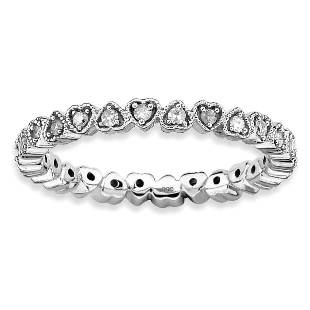 Diamond (I3, J-K 0.24 cttw) Size 7 Heart 2.25mm Eternity Band Silver Stackable Expressions Ring