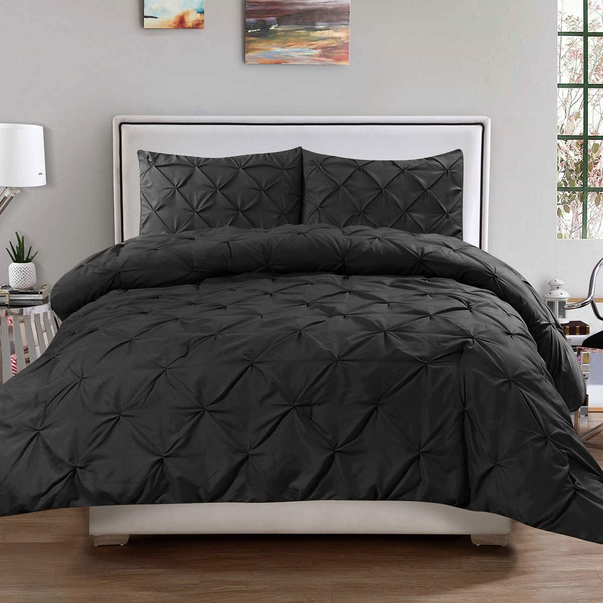 Luxe Pintuck duvet//Quilt Cover Set avec taies en polycoton Literie Tailles