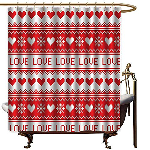 Godves Shower Curtain,Love Decor Collection Nordic Winter Love Heart Pattern Christmas Holiday Gathering Horizontal Stripe Image Print,Shower Curtains in Bath,W60x72L,Red White (Northwoods Collection Stripe)