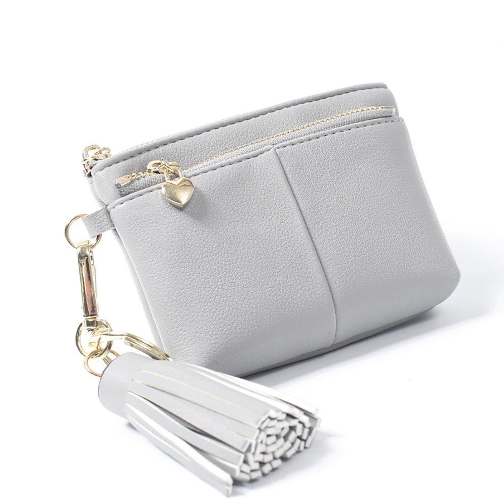 Womens RFID Blocking Slim Key Holder Wallet Card Holder Coin Cash Key Organizer with Ring Tassel (#2 Grey)