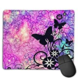 Non-Slip Mouse Pad Rubber Mousepad Butterfly Full Blossom Print Gaming Mouse Pad 18 * 22 cm
