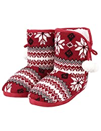 SIBBA Womens Knitted Slipper Boots Indoor Outdoor Warm Snow Bootie In Winter