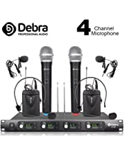 Debra Audio D-140 UHF 4 Channel Wireless Microphone System Metal Receiver With 2 Handheld & 2 Lavalier & 2 Headset Mic Use for Stage Church Family Party, Church, Small Karaoke Night