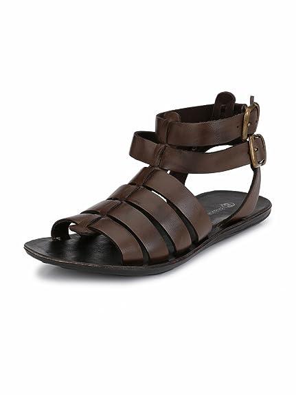 385b172bd8d Guava Brown Men Anti-Sweat Leather Sandals  Amazon.in  Shoes   Handbags
