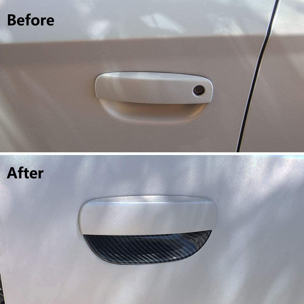 Jstotrim Carbon Fiber Door Handles Bowl Cover Trim Decal Bezel for Dodge Challenger 2015+