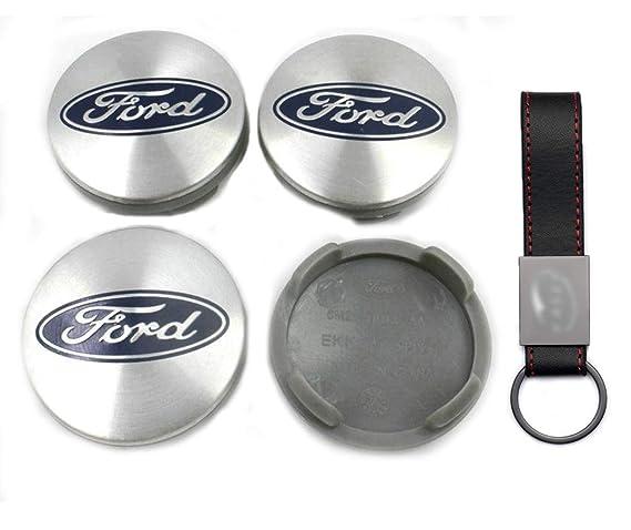 Set 4X Tapacubos 54mm para Ford KA Kuga Fusion Fiesta Focus Mondeo Logo Emblema Tapas para Llantas de Aleación (+ Llavero de Cuero): Amazon.es: Coche y moto