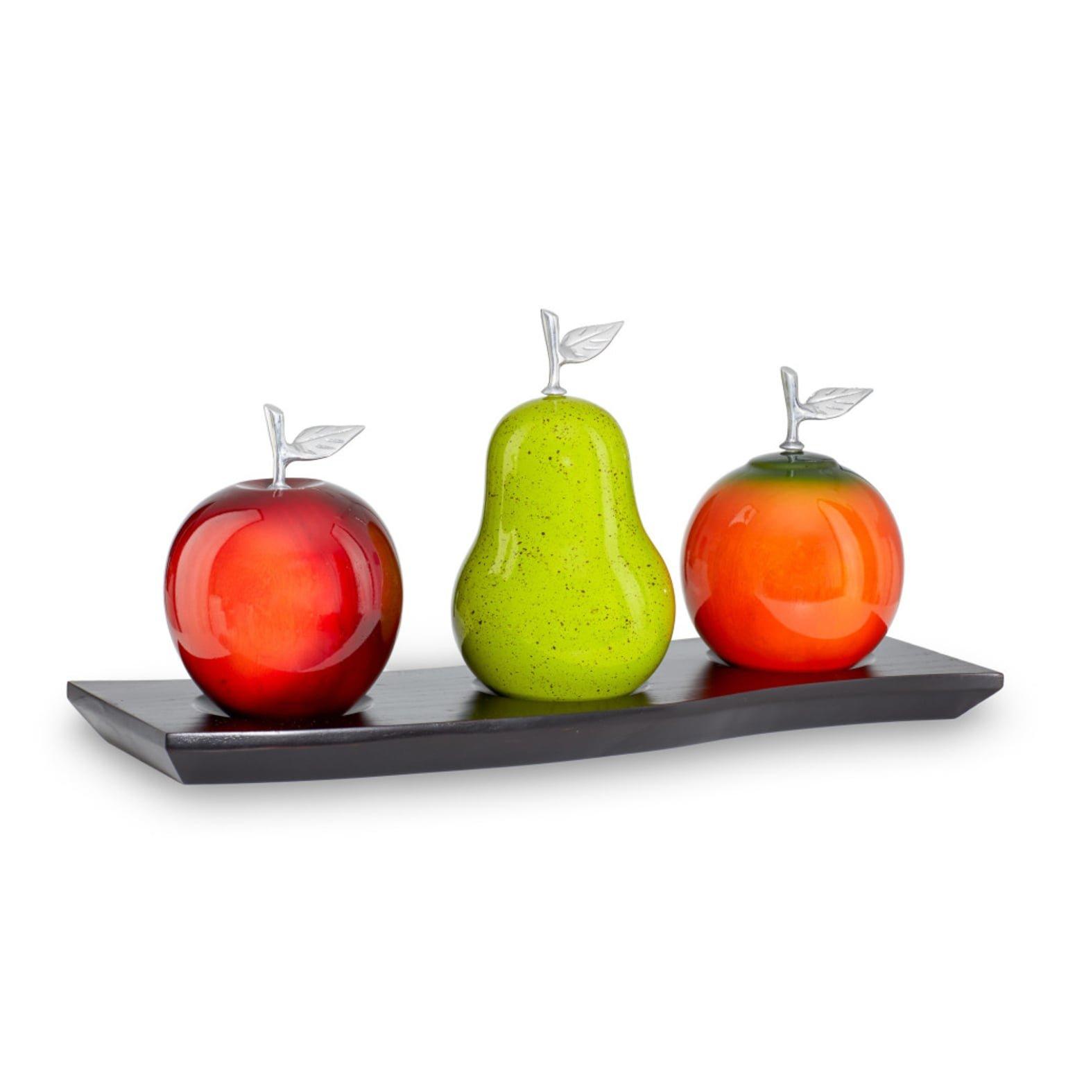 Artesana Home DW Apple Red, Pear Green, Orange Medium on a Triple Base Fruit Figurines by Artesana Home
