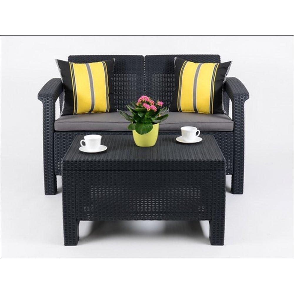 JUSThome Corfu Sofa Couch Gartenmöbel + Tisch in Rattan-Optik Anthrazit Grau