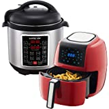 GoWISE USA 3.7-Quart 8-in-1 Digital Touchscreen Air Fryer (Red, GW22944) + Recipe Book AND GoWISE USA 6-Quart 10-in-1 Electric Pressure Cooker (Stainless Steel, GW22620) + Recipe Book