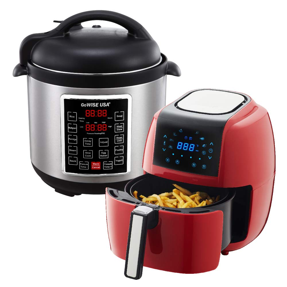 GoWISE USA 3.7-Quart 8-in-1 Digital Touchscreen Air Fryer (Red, GW22944) + Recipe Book AND GoWISE USA 8-Quart 10-in-1 Electric Pressure Cooker (Stainless Steel, GW22623) + Recipe Book
