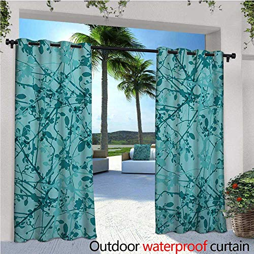 homehot Teal Outdoor Blackout Curtains Ink Drawing Inspired Intertwined Tree Branches Buds and Leaves in Abstract Design Outdoor Privacy Porch Curtains W72 x L96 Teal Turquoise