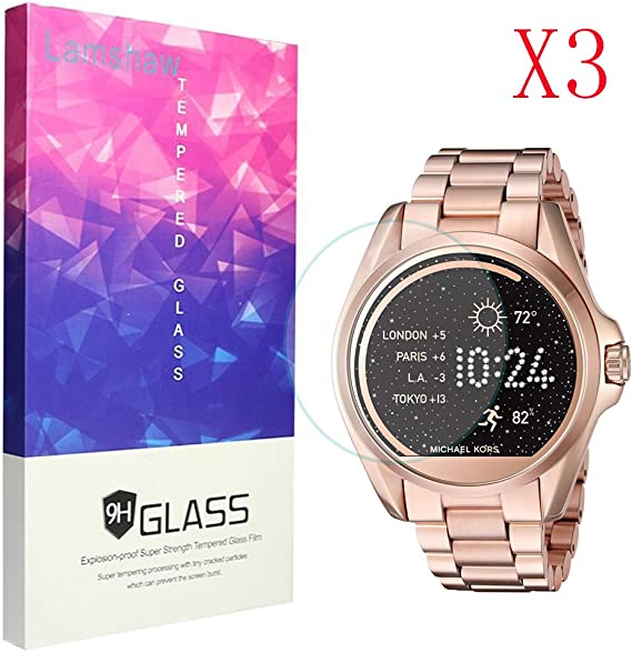 Lamshaw 9H Tempered Glass Screen Protector for Michael Kors MKT5001 Smartwatch (3 Pack)