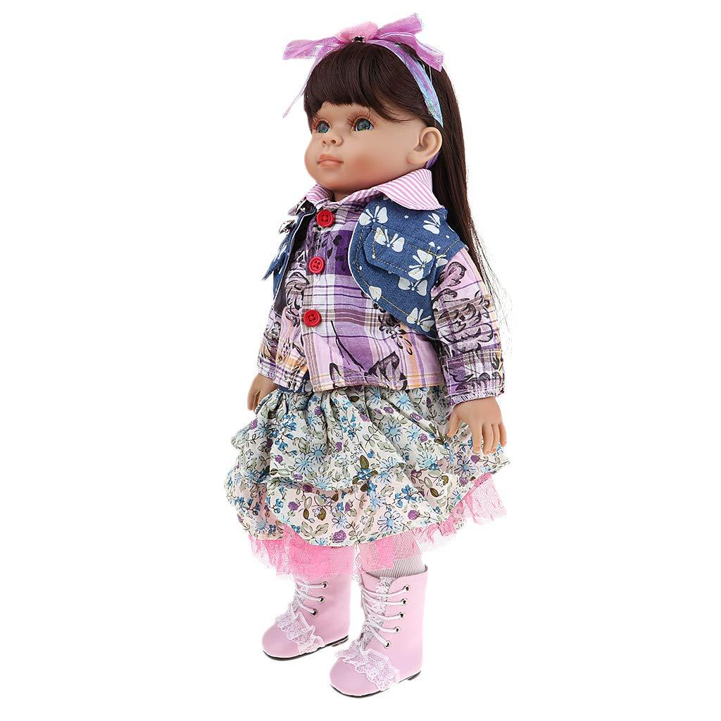Fenteer 45cm Lebensechte Reborn Baby Puppe Weich Vinyl Babypuppe Kinder Weihnachten Geschenk