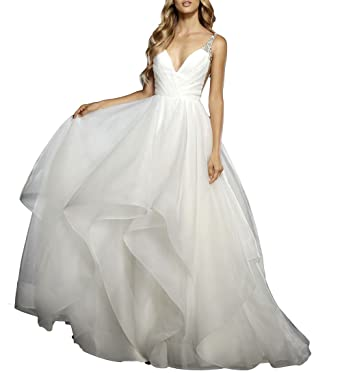 Mr.ace Homme Elegant V-Neck vestidos de novia Backless Beaded Backless Bridal Gowns