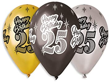 Gemar Birthday Balloons X 10pcs Happy 25th Metallic Premium Quality