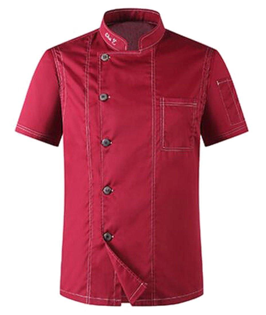 Revolutee Mens Chef Jacket Denim Kitchen Breathable Short Sleeve Coat